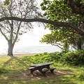 There are several picnic tables at Kalae'O'iO Beach Park.- Kalae'O'iO Beach Park
