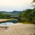 The Nanakuli Stream creates a freshwater lagoon on the beach.- Zablan Beach / Forac Beach Park