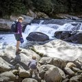 Rock climbing on Big Creek.- Big Creek Trail to Mouse Creek Falls