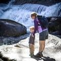Taking in the beautiful cascades of Big Creek. - Big Creek Trail to Mouse Creek Falls