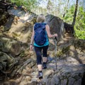 The rocky turn in the trail means that beautiful views are just ahead! - Abrams Falls Trail