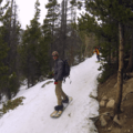 Backcountry snowboarders coming down the trail.- Emerald Lake Backcountry Tour