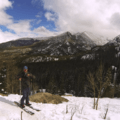 Splitboarding up the trail.- Emerald Lake Backcountry Tour