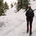 Walking up through the snow.- Emerald Lake Backcountry Tour