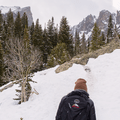 The peaks above Emerald Lake come back into view.- Emerald Lake Backcountry Tour