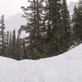Snow gently falling on the climb toward Emerald Lake.- Emerald Lake Backcountry Tour