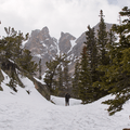 Coming up to Emerald Lake.- Emerald Lake Backcountry Tour