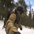 Snowboarding all the way down the trail.- Emerald Lake Backcountry Tour