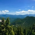 A panoramic view of the Cascades from the top of the trail. Peaks from Mount Jefferson south to the Three Sisters are featured most prominently.- Crescent Mountain