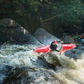 A perfect boof in the third stage of Moshier Falls.- Beaver River: The Spillway to Moshier Falls