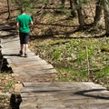 A boardwalk crosses the muddiest section of trail.- Stone Valley Recreation Area