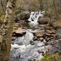 The main falls visible from the picnic area.- Greenwood Creek Picnic Area