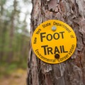 The foot trail is marked with yellow markers.- Greenwood Creek Picnic Area