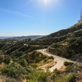 A winding road below the trail.- Hollywood Sign via Canyon Drive