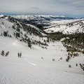A long, beautiful runout with the Sawtooths in the distance.- Galena Summit