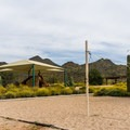 One of the group picnic areas has a sand volleyball court.- Cave Creek Regional Park