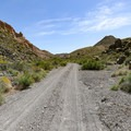 An unusual straight stretch on the long winding climb up the Goler Wash canyon.- Barker Ranch
