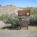 A sign marks the boundary of Death Valley National Park, which expanded to include this area in 1994.- Barker Ranch