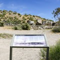A sign shows the ranch before a fire burnt the main building down.- Barker Ranch