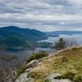Nice views of Lake George from First Peak.- Tongue Mountain Range