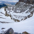 Staring down the runout of Wheeler Peak.- Wheeler Peak