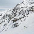 Skiing down the Blackcomb Glacier.- Phalanx Mountain via Spearhead Glacier
