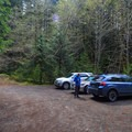 Limited parking at the trailhead.- Stahlman Point