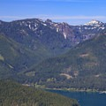 Close-up of Dome Rock and the waterfall below Tumble Lake high above Detroit Reservoir.- Stahlman Point