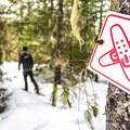 The snowshoe trails are narrower and marked with these signs.- Lost Lake Park