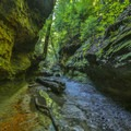 The narrow canyons of Rocky Hollow.- Rocky Hollow Falls Canyon Nature Preserve: Trail 3