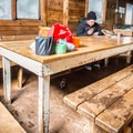 A lunch break at Keith's Hut.- Keith Flavelle Memorial Hut