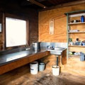 The kitchen area.- Keith Flavelle Memorial Hut