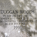 A monument leading to the Duggan Trail.- Black Rock Forest