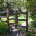 Pass through a gate and proceed straight down the wide dirt path.- Reservoir Canyon Falls