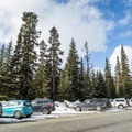 The parking area on Highway 99 at the Cerise Creek Trailhead.- Mount Joffre via Cerise Creek