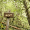 Trail signs mark the way to Parker Falls.- Lower + Upper Parker Falls