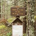 Signage along the trail to Pinard Falls.- Pinard Falls