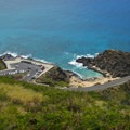 Looking down at the Halona Blowhole parking lot.- Koko Crater Arch