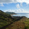 Looking back toward Sandy Beach Park. The initial ridge levels off briefly.- Koko Crater Arch