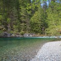A rocky bar that is ideal for swimming.- Little North Santiam River Trail