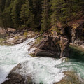 The Three Pools swimming area at high flow.- Little North Santiam River Trail