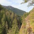 Cliffs high above the river.- Little North Santiam River Trail