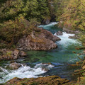 The emerald green waters of the river are quite inviting.- Little North Santiam River Trail