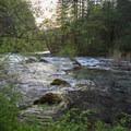 Evening light on some gentle rapids.- Little North Santiam River Trail