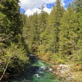 The Little North Santiam River from the bridge at the Shady Cove Campground Trailhead.- Little North Santiam River Trail