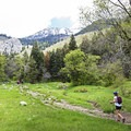 The meadow is one of the only flat spots along the whole trail.- Horsetail Falls via Dry Creek Trail
