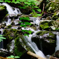 A cascading brook along Little Devils Stairs.- Little Devils Stairs