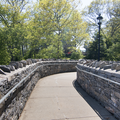 A walkway from the concessions to the castle.- Gillette Castle State Park