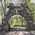 Stone structures populate the park.- Gillette Castle State Park