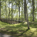 A bridge walkway on the property.- Gillette Castle State Park